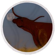 Supermoon On The Ranch Round Beach Towel