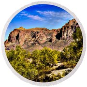 Superstition Mountain Arizona Round Beach Towel