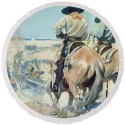 Supply Wagons Round Beach Towel by Newell Convers Wyeth