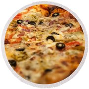 Supreme Meat Works Pizza  Sliced And Ready To Eat Round Beach Towel