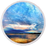 Sureal Pewaukee Lake Sunrise Round Beach Towel