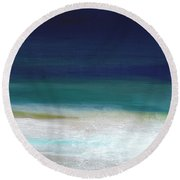 Surf And Sky- Abstract Beach Painting Round Beach Towel by Linda Woods