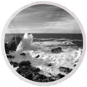 Surf At Cambria Round Beach Towel