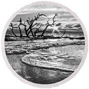 Surf At Driftwood Beach Round Beach Towel by Debra and Dave Vanderlaan