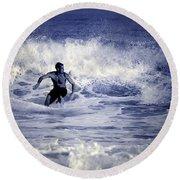 Surf At Summer Round Beach Towel