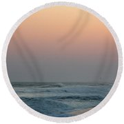 Surf At Sunset 1 Round Beach Towel