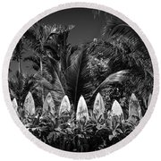 Surf Board Fence Maui Hawaii Black And White Round Beach Towel by Edward Fielding