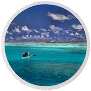 Surf Board Paddling In Moorea Round Beach Towel by David Smith