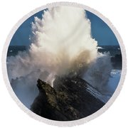 Surf Erupts On The Rocks At Shore Acres Round Beach Towel