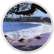 Surf On The Beach, Mauna Kea, Hawaii Round Beach Towel