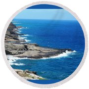 Surf On The Rocks Round Beach Towel