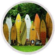 Surfboard Fence Maui Round Beach Towel