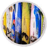Surfboard Fence Maui Hawaii Round Beach Towel by Edward Fielding
