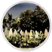 Surfboard Fence - Old Postcard Round Beach Towel