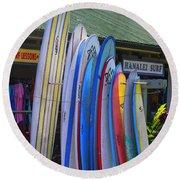 Surfboards At Hanalei Surf Round Beach Towel