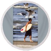 Surfer And The Birds Round Beach Towel