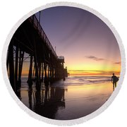 Surfer At Sunset Round Beach Towel