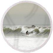 Surfer Beach 91st St Rockaway Queens Round Beach Towel