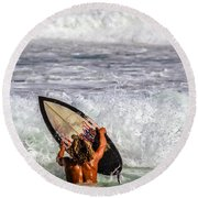 Surfer Catch The Wave Round Beach Towel