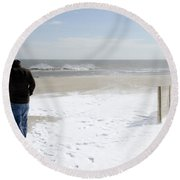 Surfer Checking Out Winter Swell In Belmar Nj Round Beach Towel