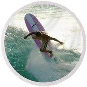 Surfer Cutting Back Round Beach Towel