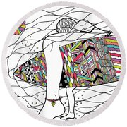 Surfer Girl Round Beach Towel by Susan Claire