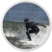 Surfer Hitting The Curl Round Beach Towel