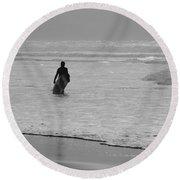 Surfer In The Mist Round Beach Towel