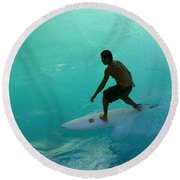 Surfer In The Zone Round Beach Towel