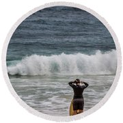 Surfer Checking The Waves Round Beach Towel