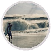 Surfer Watch Round Beach Towel by Laura Fasulo