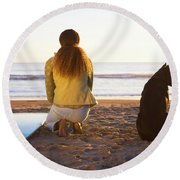 Surfer Woman And Dog On Beach Round Beach Towel