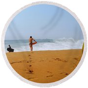 Surfers At Newport Beach Round Beach Towel
