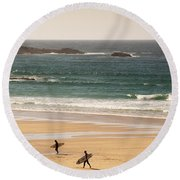 Surfers On Beach 01 Round Beach Towel by Pixel Chimp