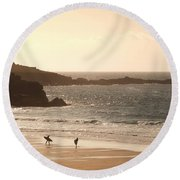 Surfers On Beach 03 Round Beach Towel