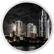 Surfers Paradise By Night Round Beach Towel