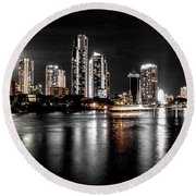 Surfers Paradise Night Reflections Round Beach Towel