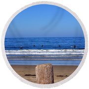 Surfers Waiting.... Round Beach Towel