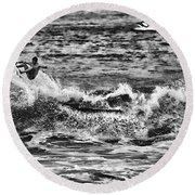 Surfin In The Usa V8 Round Beach Towel