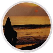 Surfing At Sunset Round Beach Towel by Anonymous