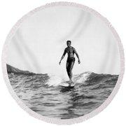 Surfing At Waikiki Beach Round Beach Towel