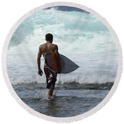 Surfing Brazil 3 Round Beach Towel