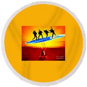 Surfing For Peace Round Beach Towel