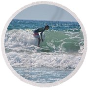 Surfing In California Round Beach Towel