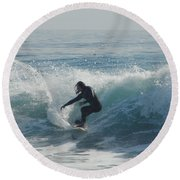 Surfing In The Sun Round Beach Towel