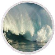 Surfing Jaws 1 Round Beach Towel
