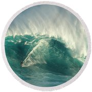 Surfing Jaws 2 Round Beach Towel