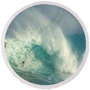Surfing Jaws 3 Round Beach Towel