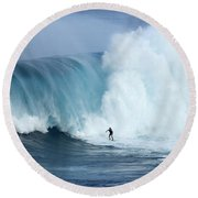 Surfing Jaws 4 Round Beach Towel