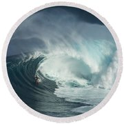 Surfing Jaws Fast And Furious Round Beach Towel